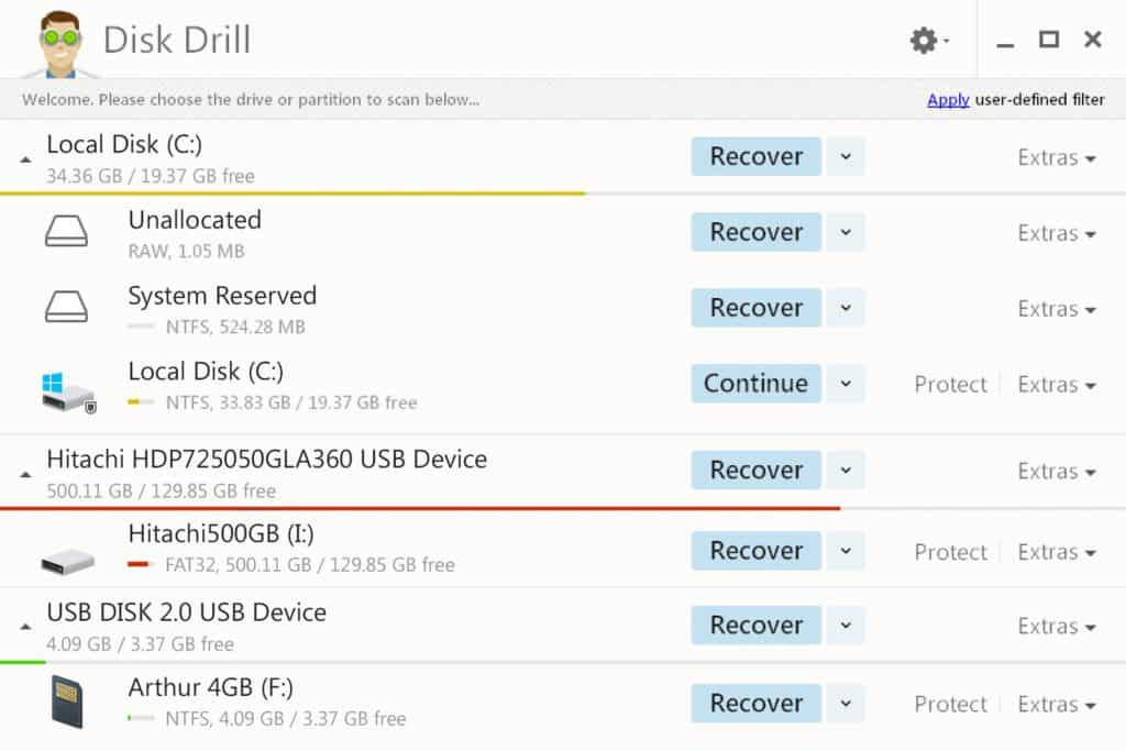 Disk Drill Data Recovery screen