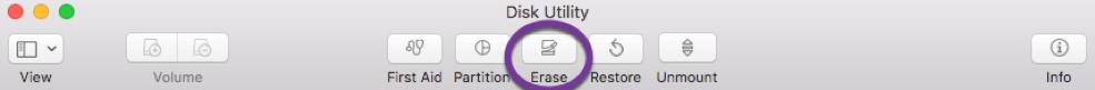 Disk utility > Erase Warning