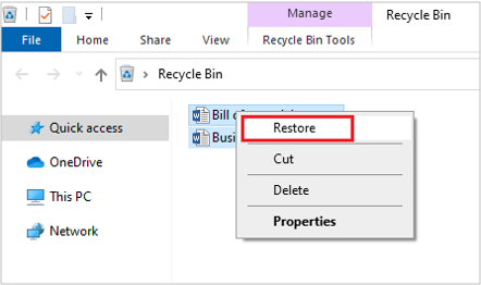 Restore Word File from Recycle Bin on Windows