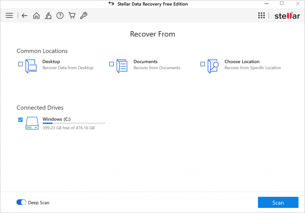 Stellar Data Recovery Free Edition -Recover From
