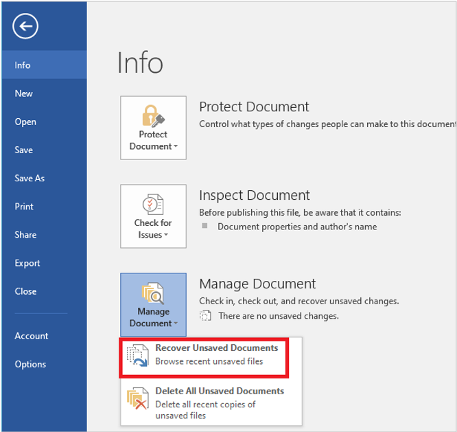 Recover Unsaved Documents Word