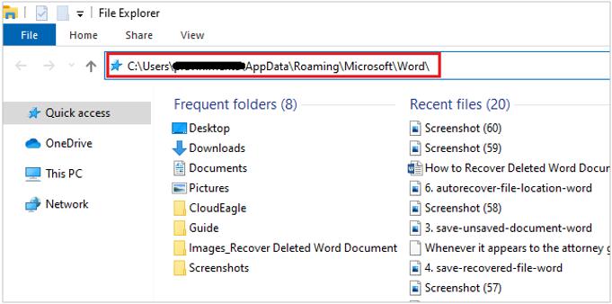 Auto verification recover file location