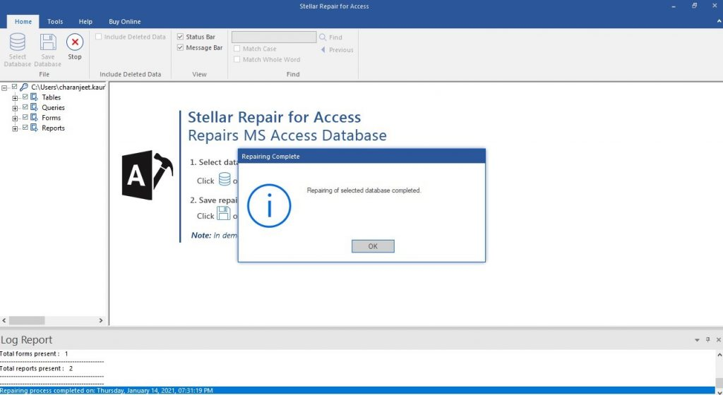 Access DB Repair Process Complete Message