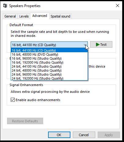 Audio sample rate options in Windows