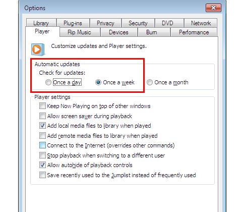Automatic update option in WMP