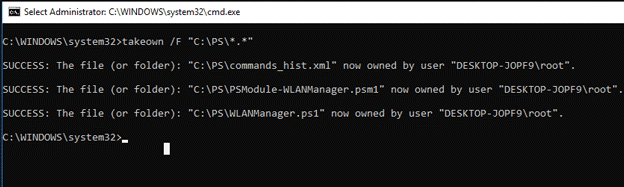 CommandPrompt Takeown Folder Ownership