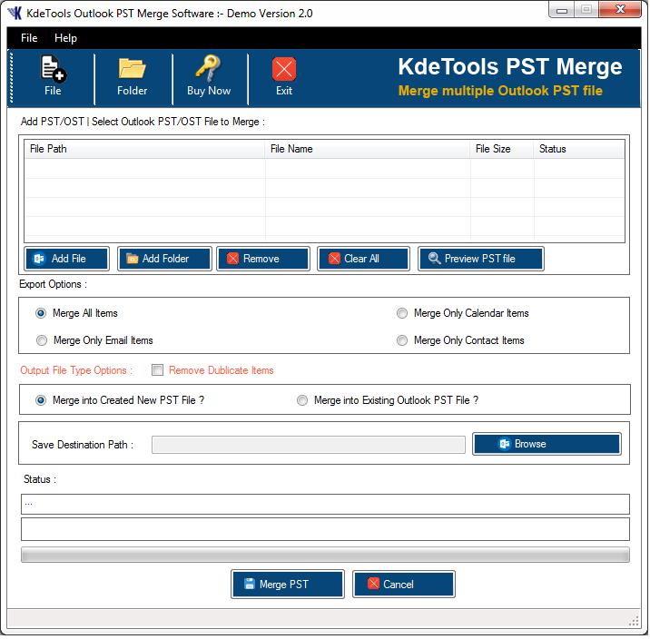 KDETools PST Merge Tool