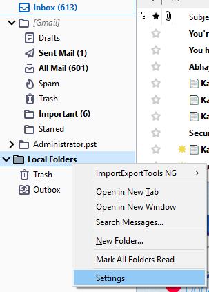Local Folders Settings Thunderbird