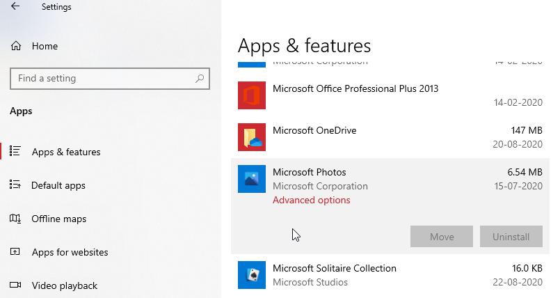 Settings Apps Photos Windows 10