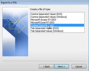 Select Outlook Datafile PST