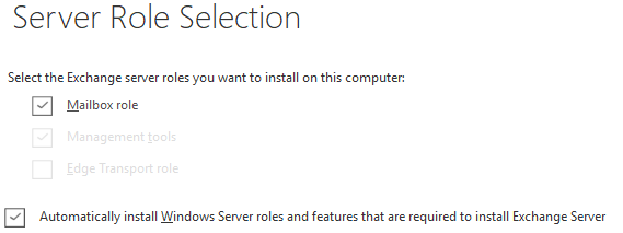 Server Role Selection