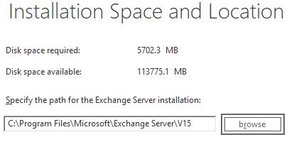 Installation Path for the Exchange Server installation