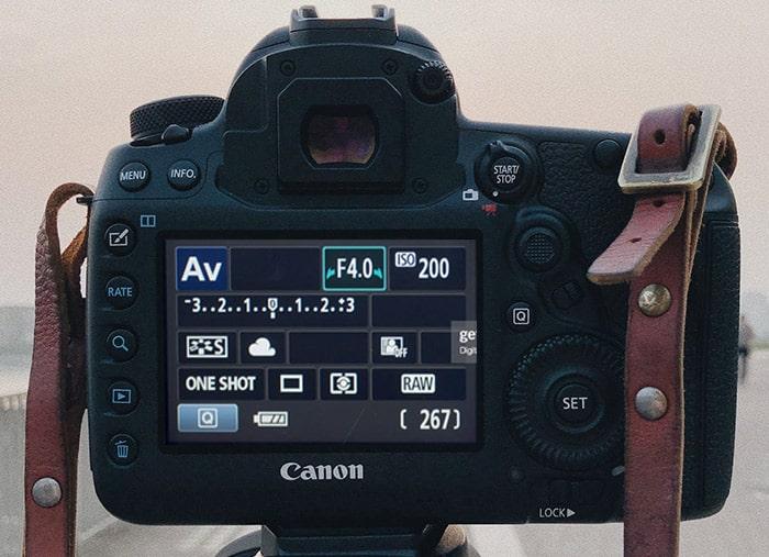 Aperture settings screen in Canon DSLR