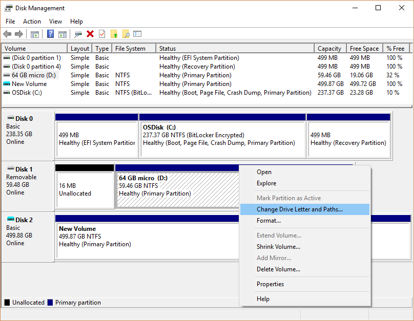 Change Drive Letter in Disk Management