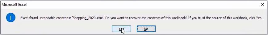 Excel Found Unreadable Content Error Message