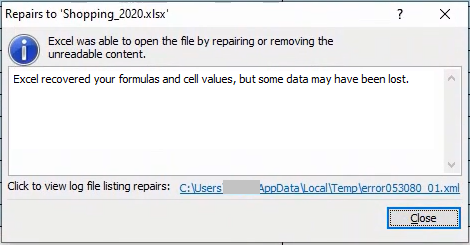 Excel Was Able To Open the File By Repairing Message