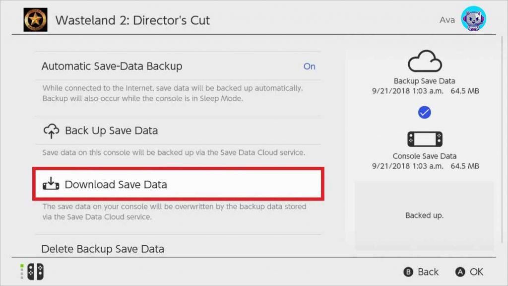'Download Save Data' option