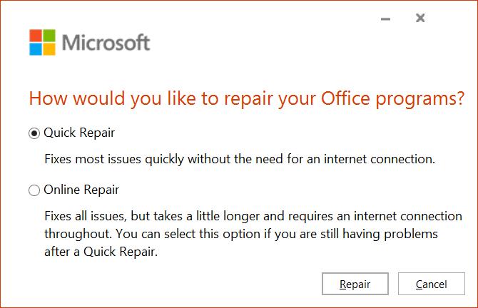 Quick Repair Option