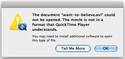 QuickTime error avi Mac
