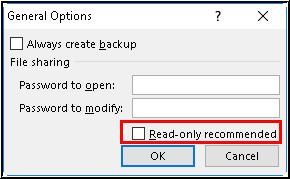Select Read Only Recommended Option