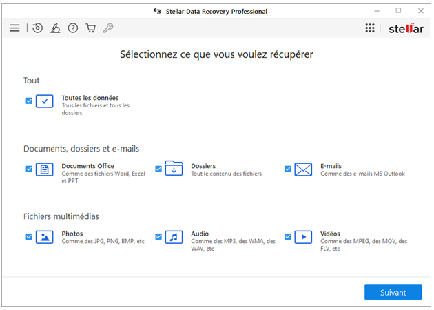 Stellar Data Recovery Professional -What to Recover