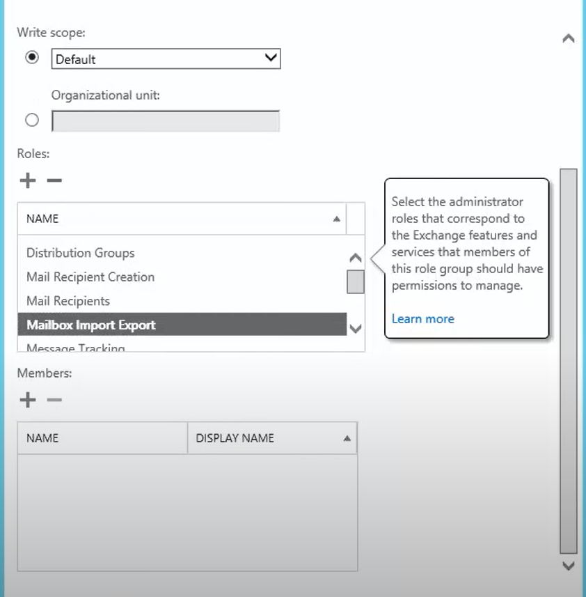 Add Mailbox Import Export Role to Group
