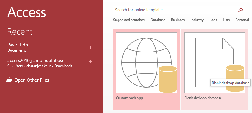 Blank Database in Access