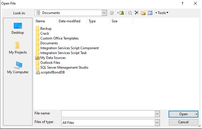 open the sq script file