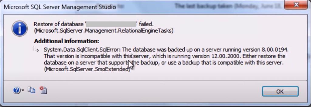restore of database failed