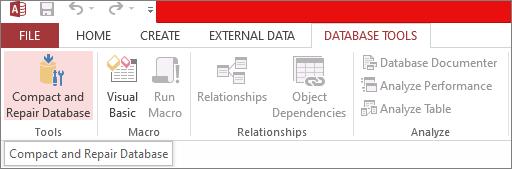 Select Compact and Repair Database Tool