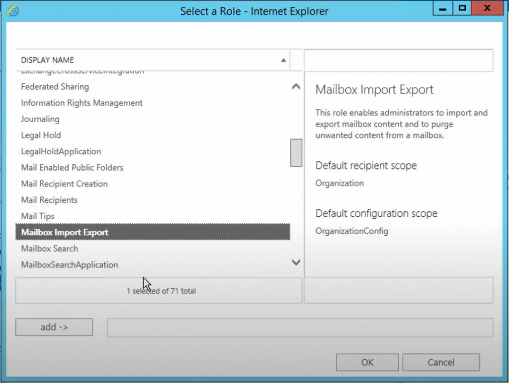 Select Mailbox Import Export Role