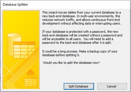 split access database