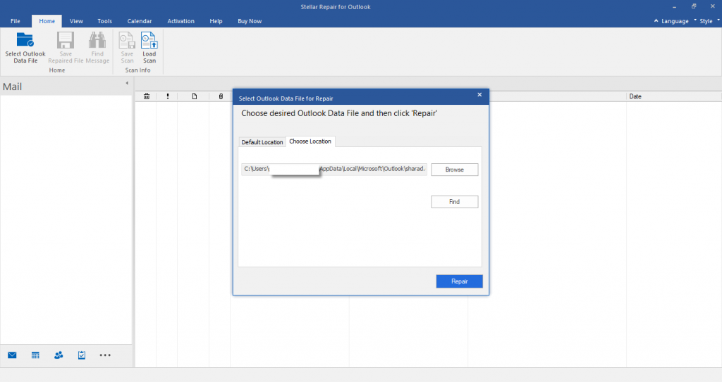 Stellar Repair for Outlook Browse PST File