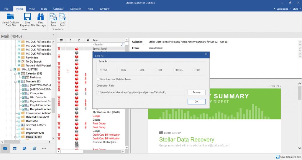 Stellar Repair for Outlook Choose to Save