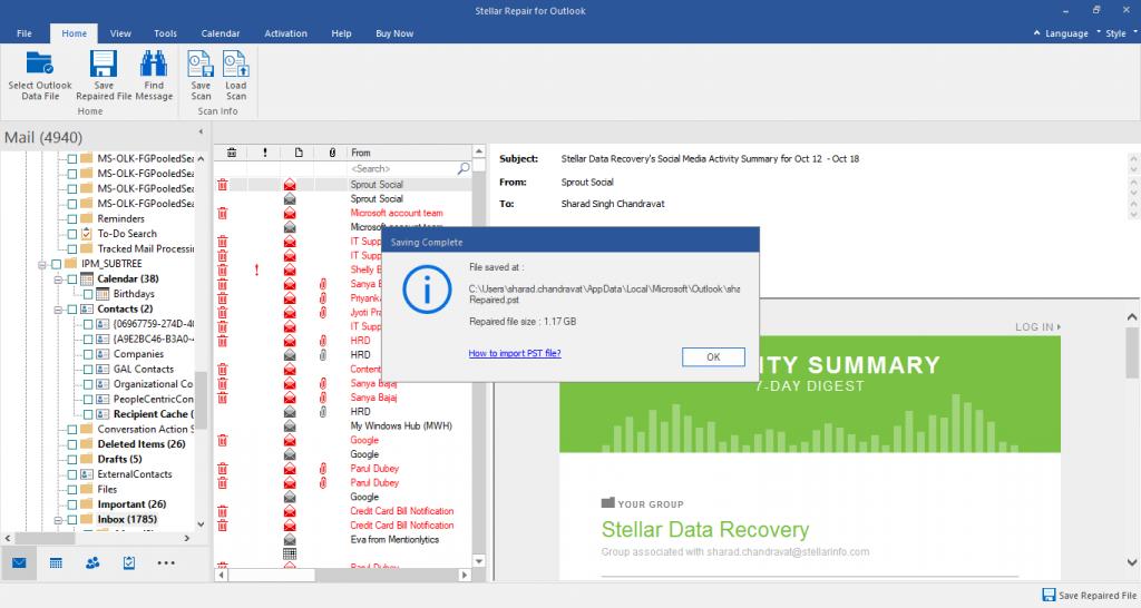 Stellar Repair for Outlook Saving