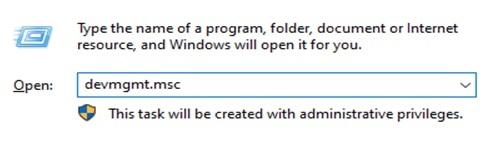 Open the Run Program and type devmgmt.msc