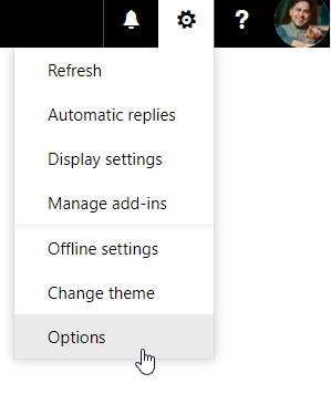 Settings (gear icon) > Options