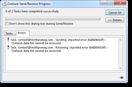 Outlook Send Receive Errors