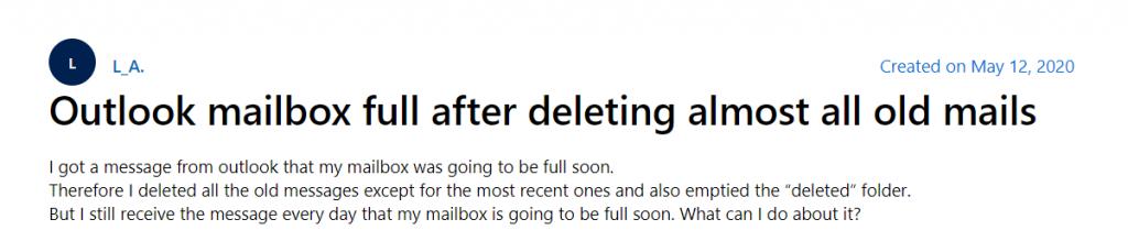 Outlook Mailbox Full Error