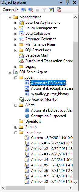 automated backup job with alerts