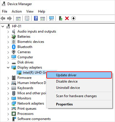 Choose Update the Drive from Variable Option