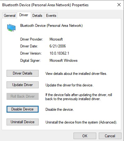 click disable device