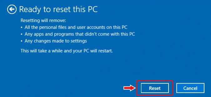 Click Reset This PC