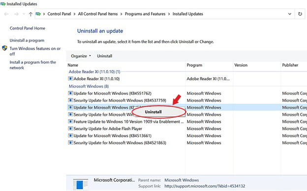Click Uninstall and Remove Windows Updates