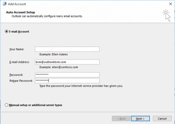 Configure New Outlook Profile