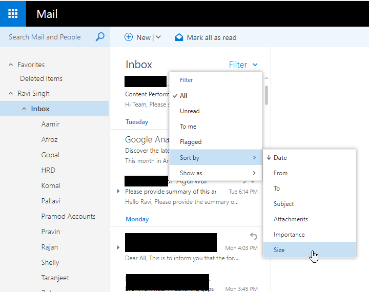 Filter Emails by Size