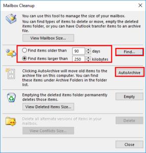 Find Delete Large Emails