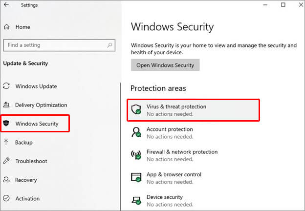 go to Windows security then select Virus and threat protection