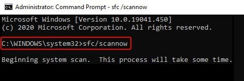 run sfc scannow command