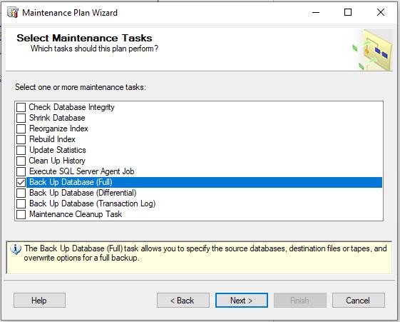 select backup database option